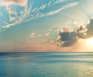 sky, ocean, and summer image