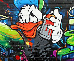 graffiti, art, and donald duck image