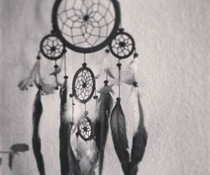 black and white, hippie, and dreamcatcher image