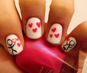 nails, beauty, and heart image