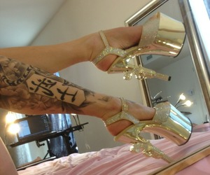 tattoo, gold, and heels image