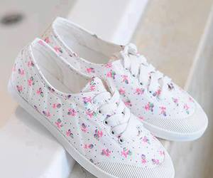 shoes, white, and flowers image