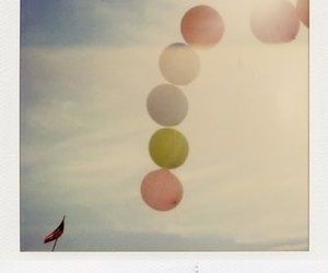 balloons, polaroid, and sky image