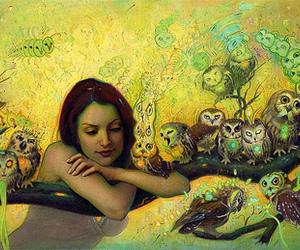 owl, art, and girl image