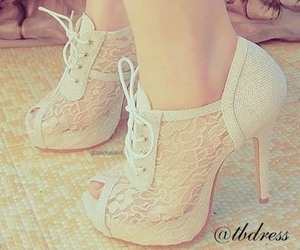 bridal, lace, and shoes image