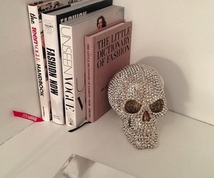book, skull, and vogue image
