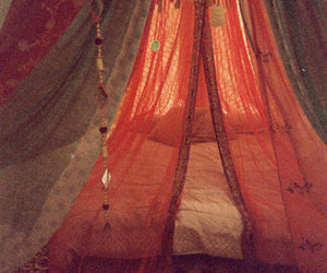 bed, bohemian, and room image