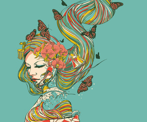art, flowers, and butterfly image