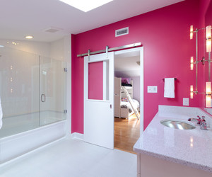 pink, bathroom, and modern image