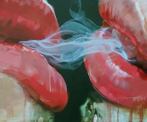 lips, smoke, and art image