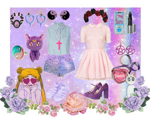 Polyvore, sailor moon, and pastel goth image