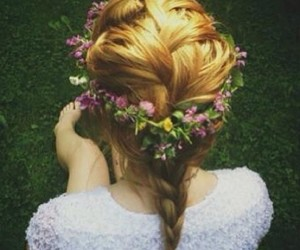 hair, flowers, and headband image