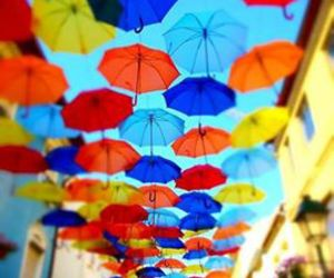 blue, umbrellas, and colors image