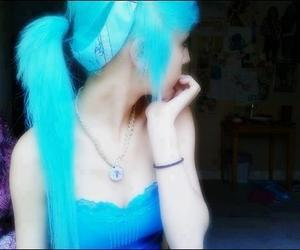 blue, blue hair, and girls image