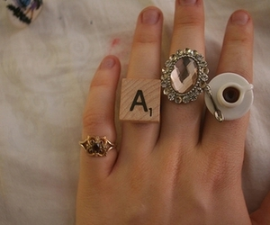 rings, hand, and the lovely teaspoon image