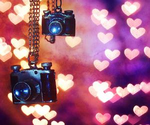 camera, heart, and hearts image