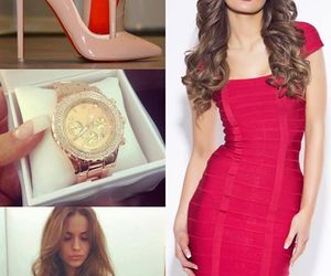 christian louboutin, dress, and red image