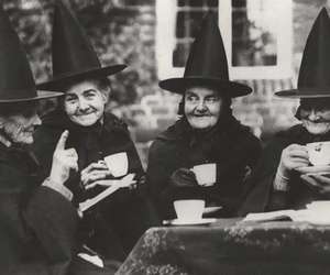 witch, tea, and black and white image