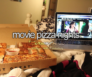pizza, movie, and night image