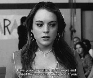 black and white, lindsay lohan, and mean girls image