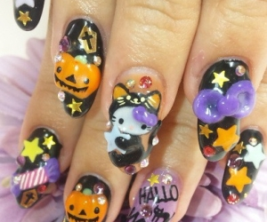 nails, hello kitty, and Halloween image