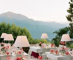 flowers, table settings, and garden party image