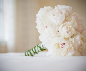 bouquet, peonies, and wedding image