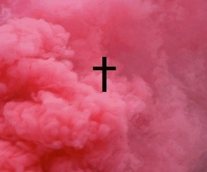 pink, cross, and clouds image