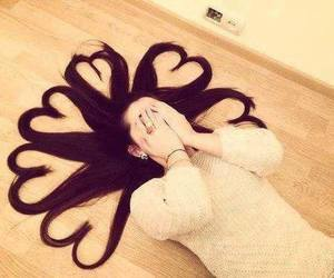 hair, heart, and hearts image