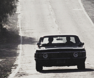 black and white, car, and dean winchester image