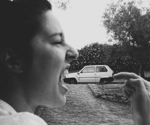 black and white, car, and funny image