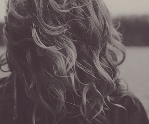 hair, curls, and black and white image