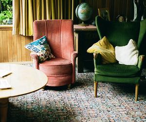 armchair, living room, and velvet image