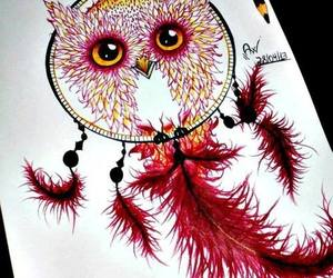 owl, drawing, and red image