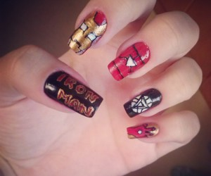 iron man, nail, and nail art image