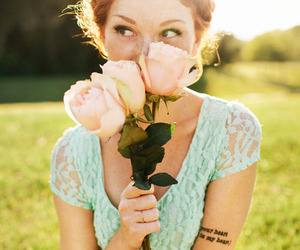 girl, flowers, and redhead image