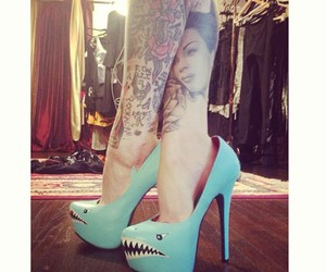 tattoo, shark, and shoes image
