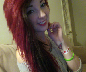 lip piercing, long hair, and red hair image