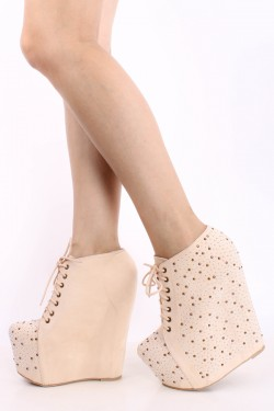 NUDE FAUX SUEDE BEAD ACCENT LACE UP TALL WEDGE BOOTIES,Women's ...
