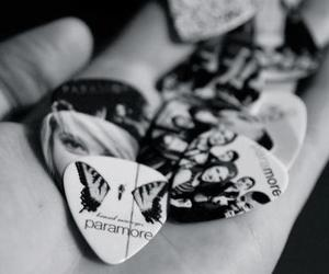 paramore, guitar pick, and black and white image