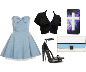 black and whie, blue, and casual image