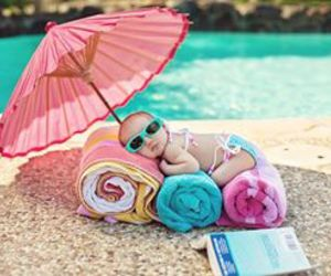 baby, summer, and pool image