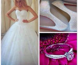 wedding, dress, and ring image