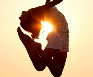 girl, sun, and jump image