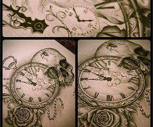 tattoo, skull, and clock image