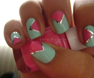 mint, nail polish, and nail art image