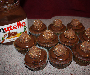 nutella, chocolate, and cupcake image