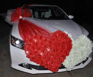 car, wedding, and red image