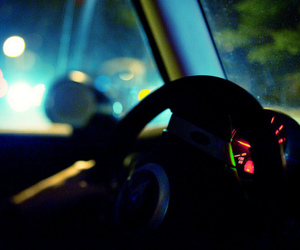 car, night, and steering wheel image