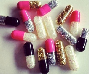 pills, glitter, and pink image